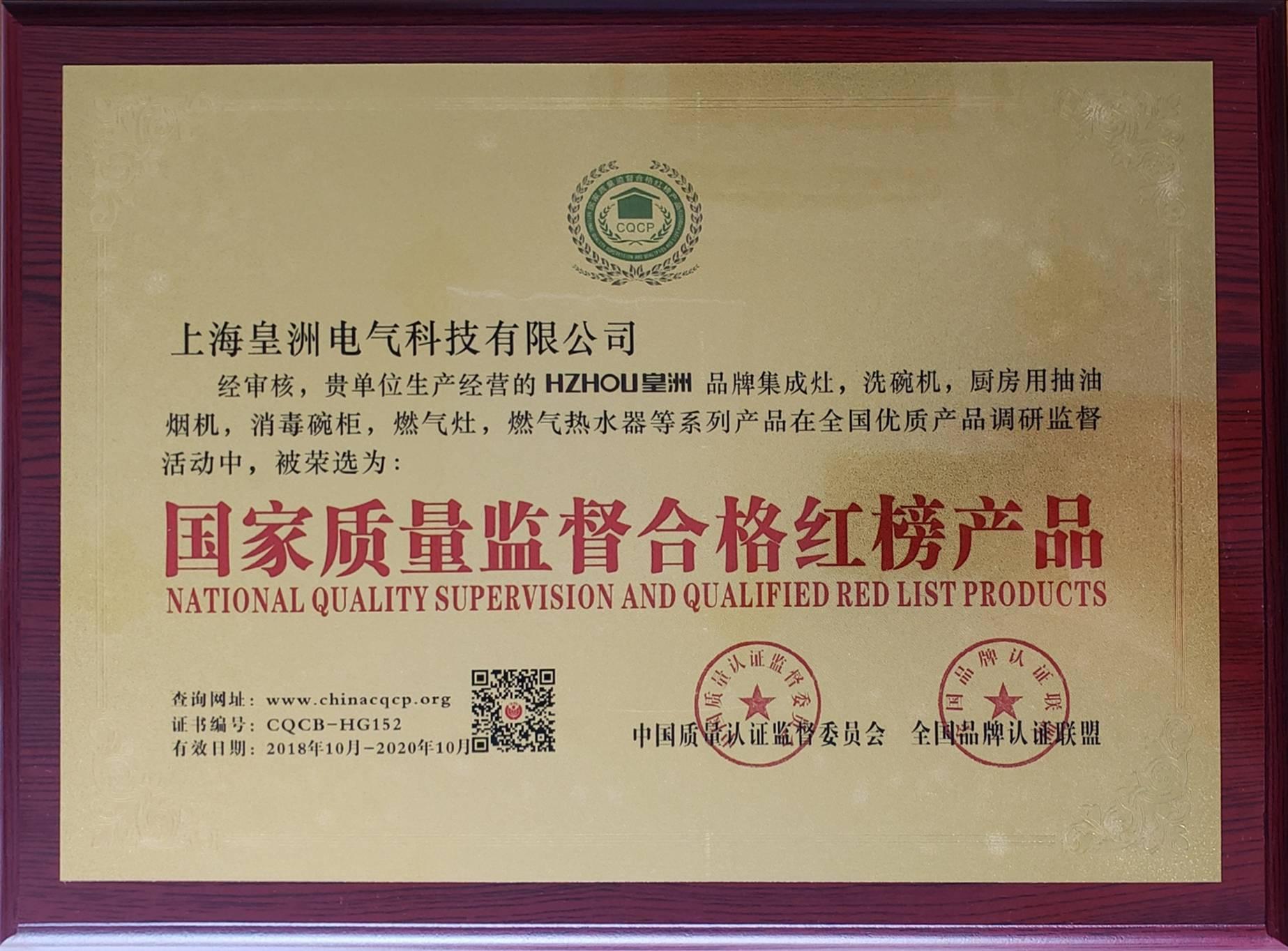 HZHOU皇洲荣获国家质量监督合格红榜产品