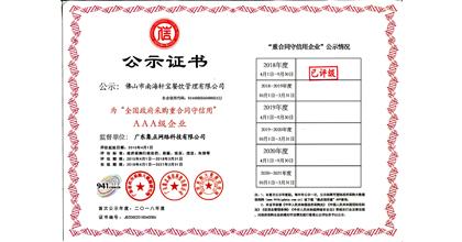 轩宝餐饮荣获全国政府采购重合同守信用AAA企业