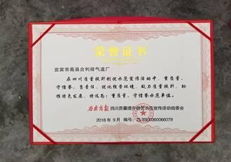 合利荣获合利排气道厂荣誉证书