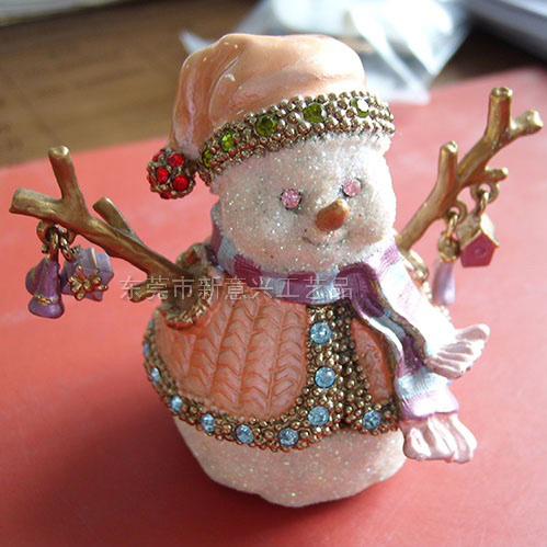 亮美工艺礼品.圣诞雪人金属珠宝盒